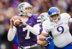 Senior K-State quarterback Collin Klein prepares to throw downfield while under pressure from the Kansas defense on Oct. 6, 2012 at Bill Snyder Family Stadium.