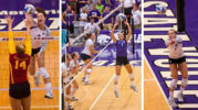 Left: Senior middle blocker, Alex Muff spikes the ball over the net in the three set win against Iowa State on Oct. 3, 2012 at Ahearn Field House,Middle: Senior setter, Caitlyn Donahue sets the ball at Ahearn Field House,Right: Keeping her eye on the ball, senior setter Caitlyn Donahue bumps the volleyball at Ahearn Field House