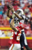 San Diego Chargers wide receiver Malcom Floyd (80) catches a pass above the head of Chiefs cornerback Marcus Peters at Arrowhead December 13, 2015. The Chiefs defeated the Chargers 10-3.
